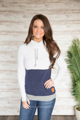 Exclusive Navy Accent Cowl Sweatshirt