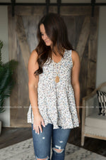 Dainty Floral Ruffle Tank (Two Colors)