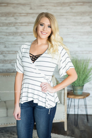 Lauren Wrapped Peplum Top (Two colors)
