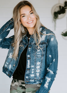 Jorgie Distressed Denim Jacket