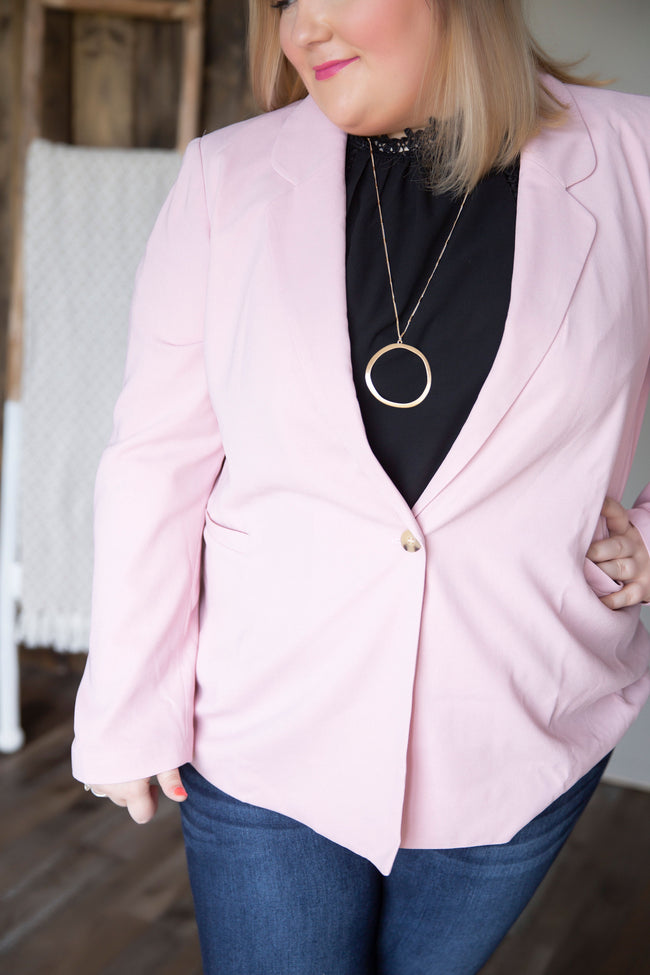 Curvy Blush And Tell Blazer-FINAL SALE