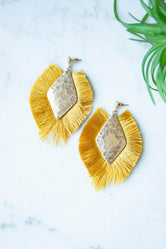 Diamond Shape Tassel Earrings