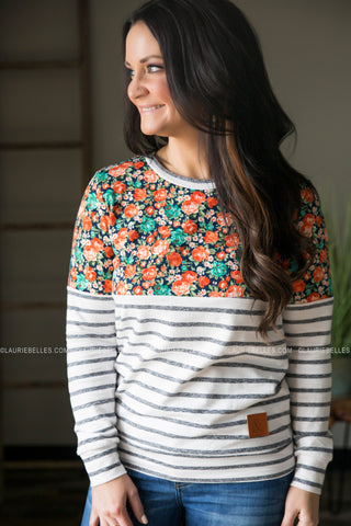 Floral & Striped Pullover