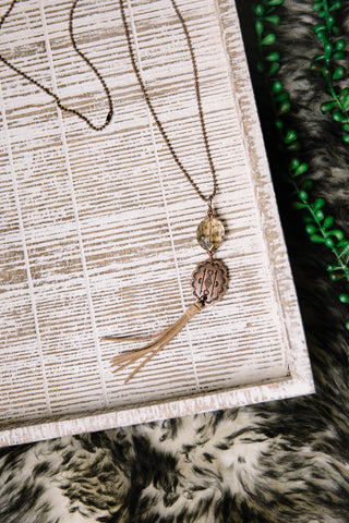 Crystal Pendant & Tassel Necklace