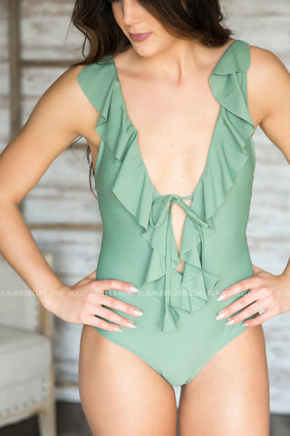 Plunging Ruffle Swimsuit (Two Colors)