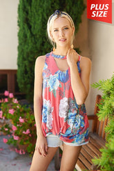 Kate Floral Keyhole Tank (Curvy)-FINAL SALE