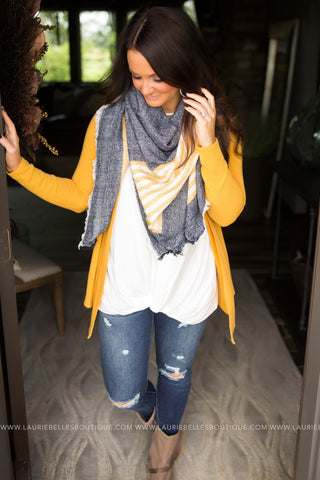 Navy and Gold Blanket Scarf