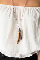 Bone Pendant Leather Necklace