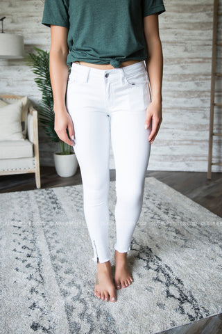 White Zipper Ankle Kan Can Jeans
