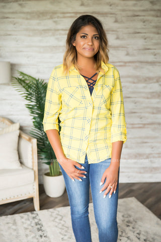 Lemonade Plaid Top