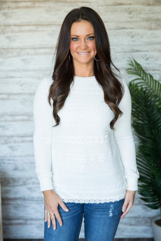 Graceful Lace Front Sweater