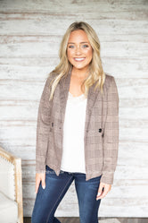 Glen Plaid Button Detail Blazer