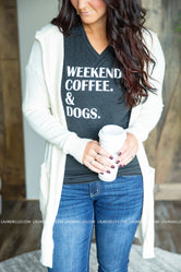 Coffee Weekend and Dogs Graphic Tee