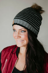 Sasha Striped Pom Hat-FINAL SALE