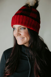 Winnie Buffalo Plaid Pom Hat-FINAL SALE