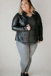 Curvy Spanx - Faux Leather Moto Jacket