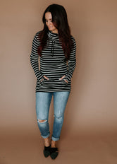 Lily & Lottie Jet Black/Oatmeal Striped Cowl