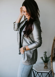 Rebound Faux Leather Blazer FINAL SALE