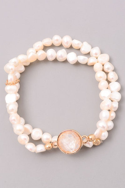 Stretch Pearl Bracelet with Stone Accent (Two Colors)