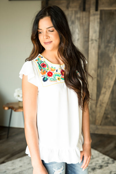 Fiesta Flutter Sleeve Top