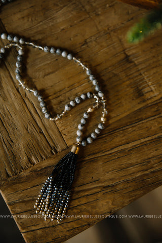 Multi-Beaded Tassel Necklace (Two Colors)