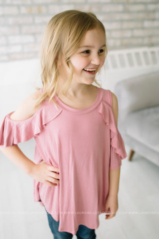 Solid Ruffle Shoulder Top (Girls/Two Colors)