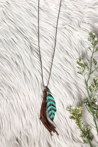 Turquoise Metal Feather Necklace