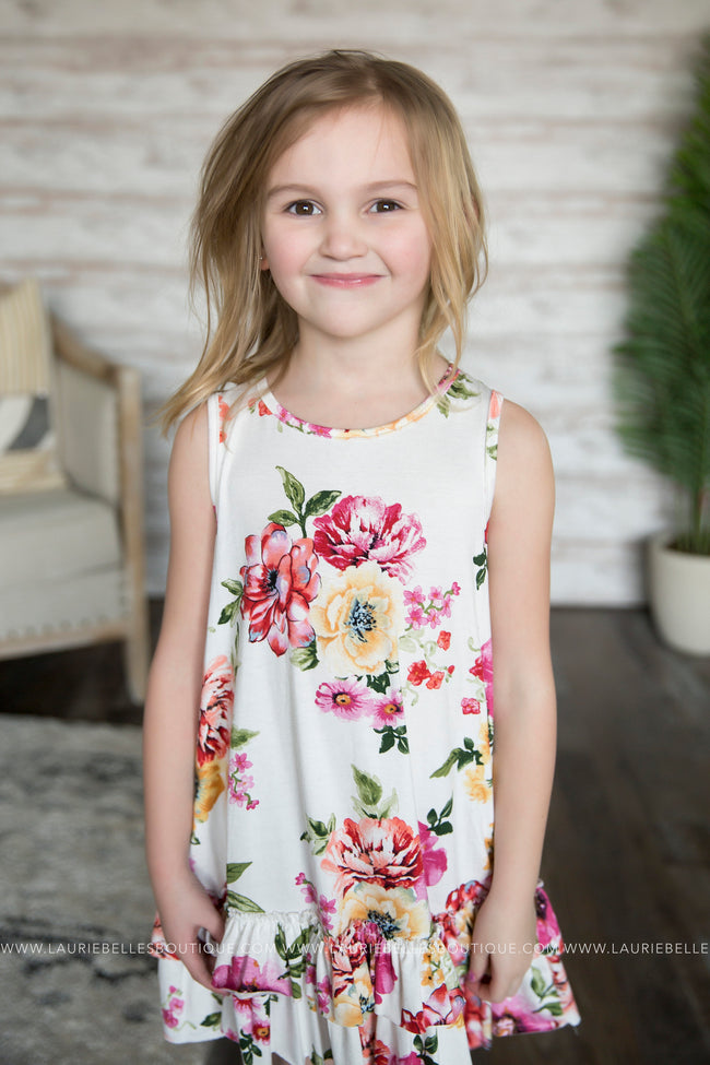 Marie Floral Ruffle Tank (Girls)