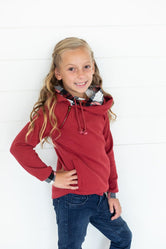 Little LB Cranberry Plaid Double Hoodie