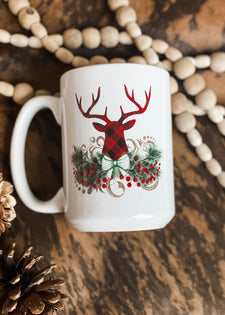 Buffalo Plaid Christmas Deer Mug