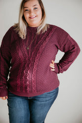 Curvy Karina Cable Knit Sweater