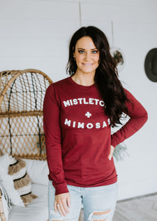 Mistletoe + Mimosas Long Sleeve Tee