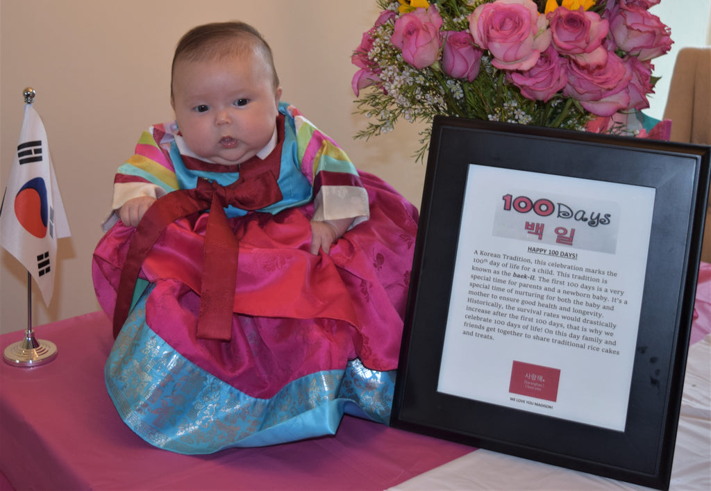 Customer Gallery: 100th Day Fuchsia and Blue Korean Hanbok