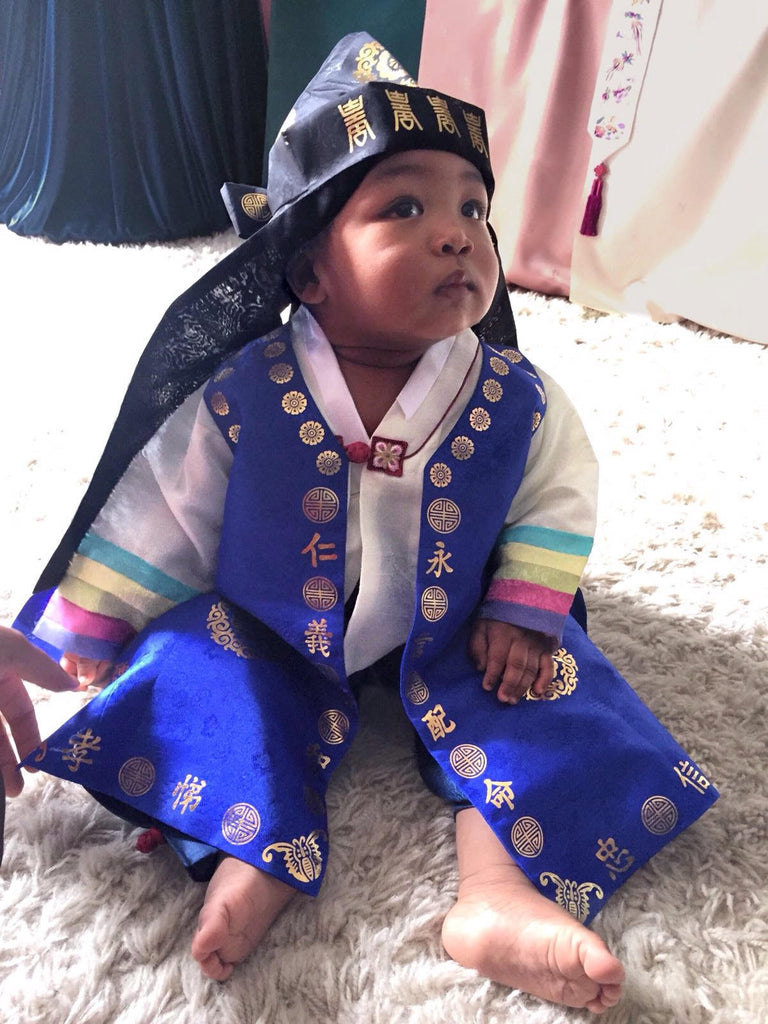 Customer Gallery: 1st Birthday Traditional Dolbok Prince Hanbok Style 3