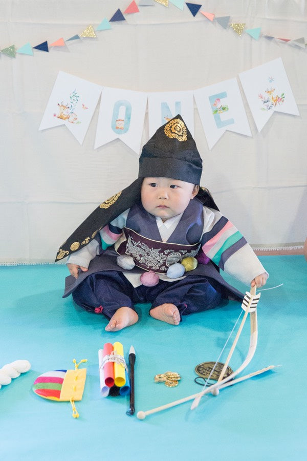Customer Gallery: First Birthday Korean Traditional Hanbok Plum/Navy
