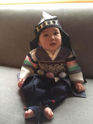 Customer Gallery: 1st Birthday Traditional Hanbok Dolbok Prince Plum Navy