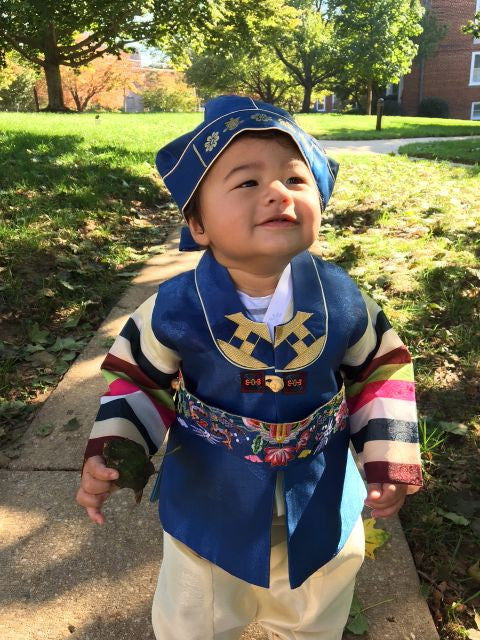 Customer Gallery: Traditional Blue and Yellow Hanbok Size 2