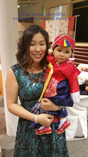 Customer Gallery: Red and Navy Hangul Baby Hanbok
