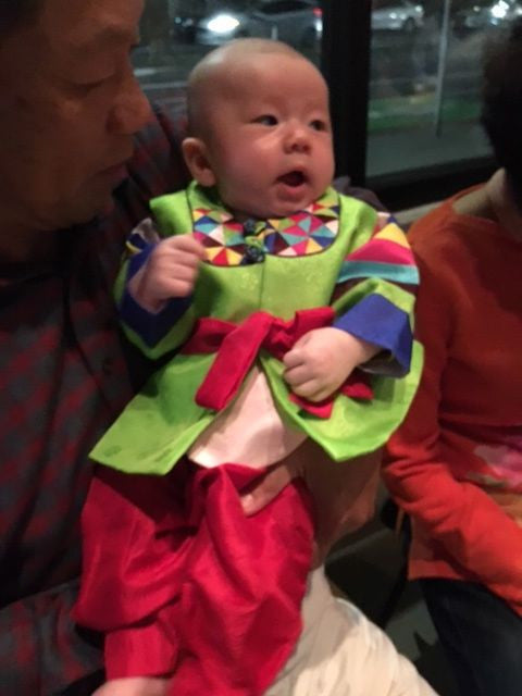 Customer Gallery:  100th Day Hanbok Red and Green