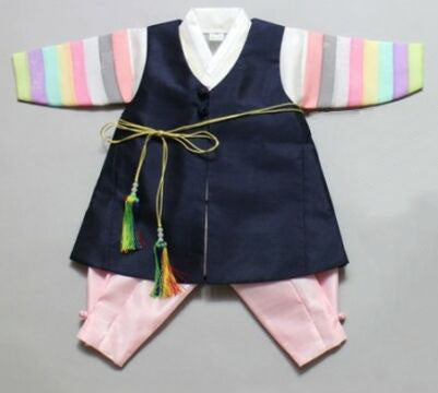 100th Day Boy Blue and Pink Traditional Prince Hanbok