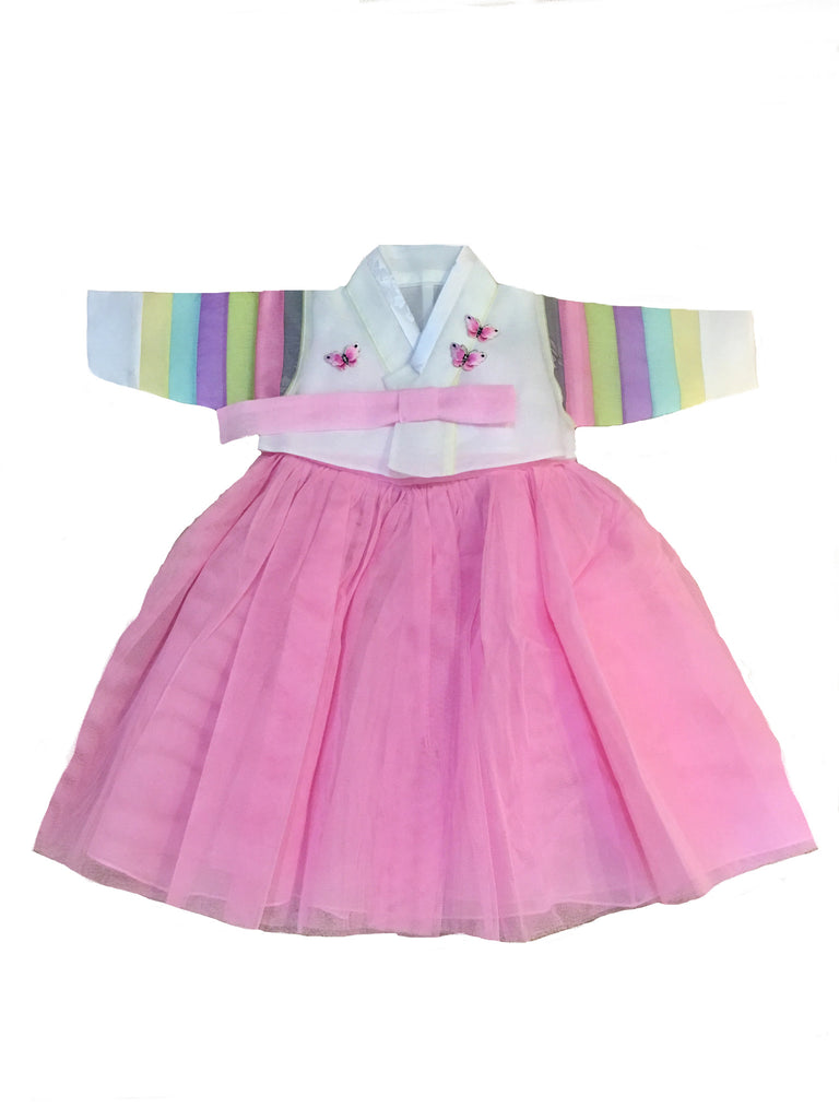 100th Day Hanbok Girl Pastel Light Pink  (Size 3 to 5 months)