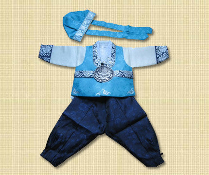 1st Birthday Boy Blue and Silver Hanbok