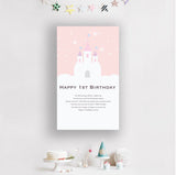 1st Birthday Cherry Pink Castle Banner