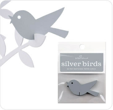 Pre-notched Paper Birds - Silver or Turquoise