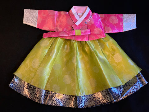 1st Birthday Girl Pink and Lime Hanbok
