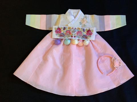 1st Birthday Girl Modern Fancy Pink Hanbok