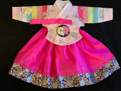 1st Birthday Girl Pretty Pink Hanbok