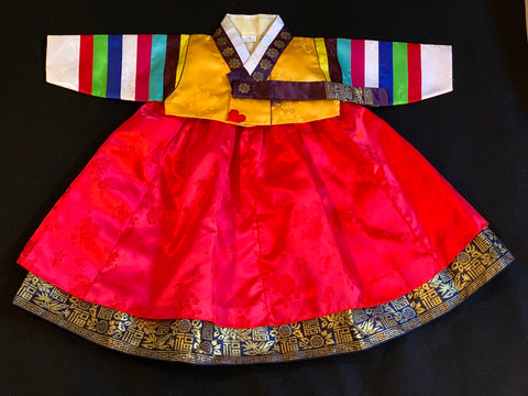 1st Birthday Girl Bright Red and Yellow Traditional Hanbok