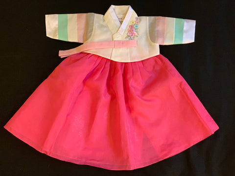 100th Day Girl Pastel and Dark Pink Hanbok