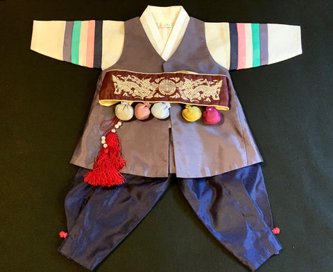 1st Birthday Boy Traditional Dolbok Prince Hanbok Plum/Navy